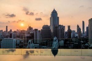 Rooftop Blick vom Hotel auf Bangkok