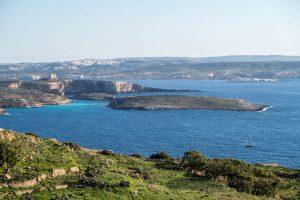 Aussicht von Gozo auf Comino