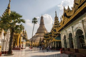 Golden pagoda in Yangon while backpacking around Myanmar
