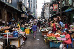 Chinatown in Yangon Myanmar