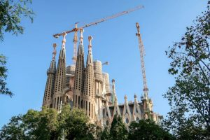 View of Sagrada familia while backpacking Barcelona