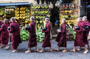 Monks while backpacking Yangon