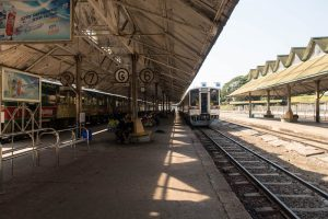 Waiting for the circular train, a highlight when backpacking Yangon