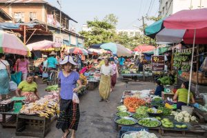 Markt in Yangon Myanmar