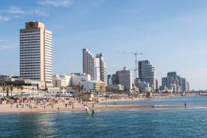 Beach and skyscrapers in Tel Aviv