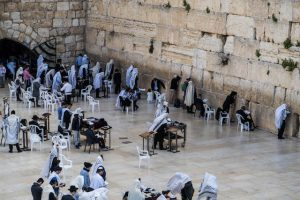 People at the Wailing Wall in Jerusalem Israel