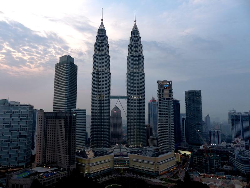 Skyline of Kuala Lumpur when backpacking