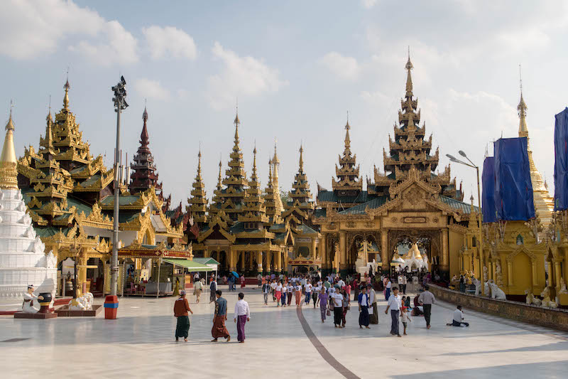 Shwedagon Pagoda while backpacking Yangon