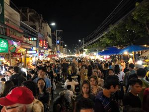 Walking street market in Chiang Mai Thailand