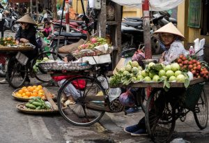 Locals on the streets when backpacking Hanoi
