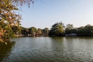 View of Hoan Kiem Lake when backpacking Hanoi