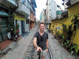 the train tracks in Hanoi
