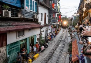 Train on the street in Hanoi