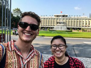 Reunification palace when backpacking Saigon