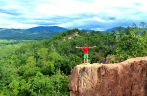 Standing on the canyon in Pai