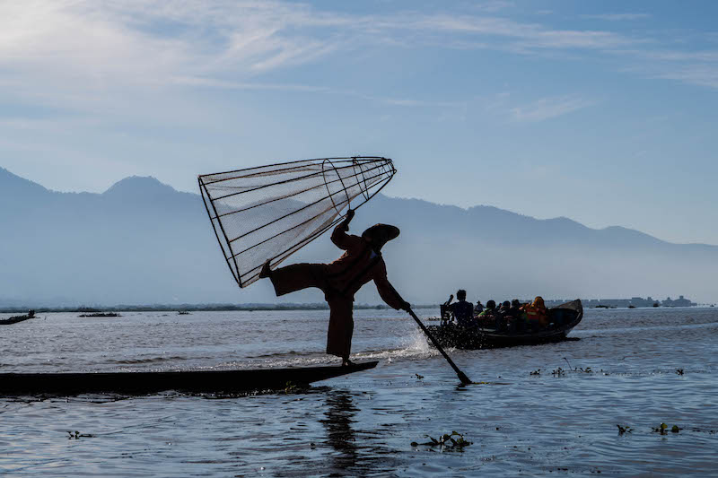 Visiting the fishermen as best things to do in Inle lake Myanmar