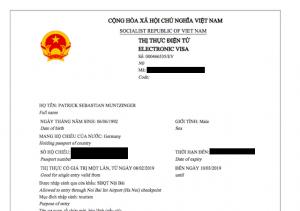Scan meines evisa für Vietnam