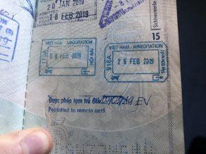 Reisepass Stempel bei der Vietnam Einreise