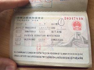 Visum für China im Pass