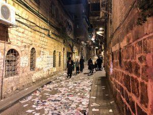 Nachts beim ultra orthodoxen Juden Viertel