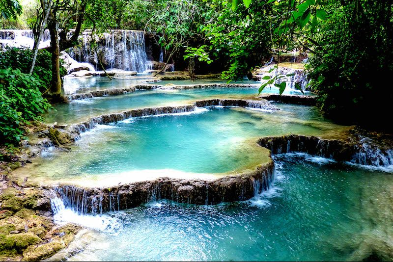 Sehenswürdigkeiten Laos: Toller Wasserfall