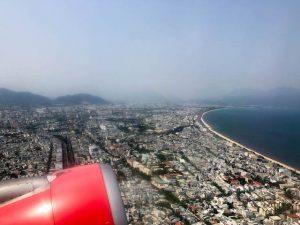 Blick aus dem Flugzeug auf Vietnam