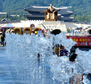 Springbrunnen am Gwanghwamun Platz