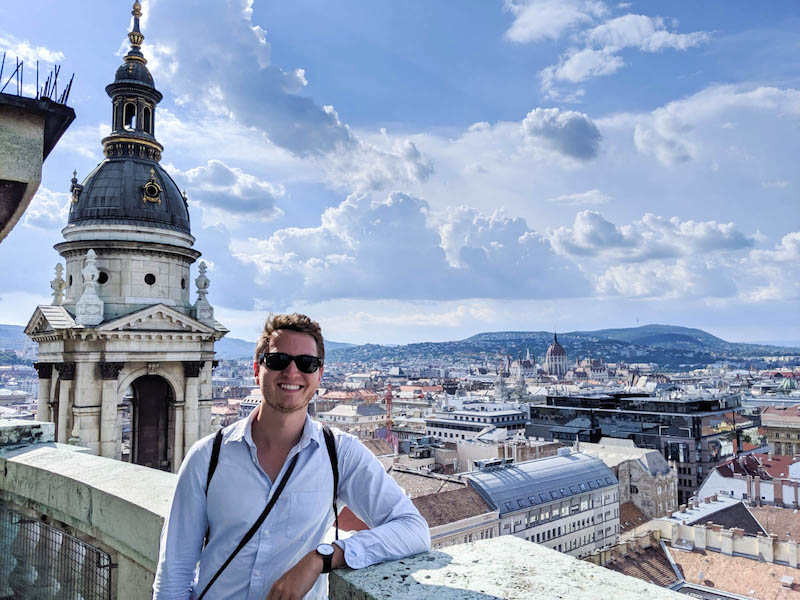 Views of the city with person in the front when backpacking Budapest