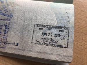 Stempel im Reisepass als Bahamas Visum