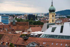 Panorama auf Graz vom Schlossberg