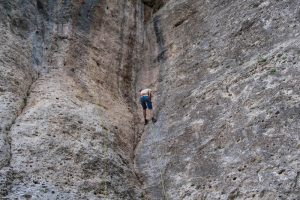 Kletterwand in Comano Trentino, Italien