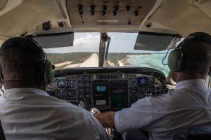 Landeanflug im Flugzeug