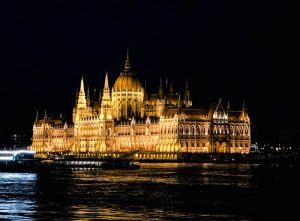 Parliament of Budapest with lights at night