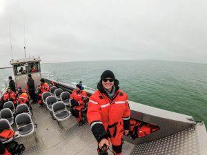 Selfie auf Boot im Wasser