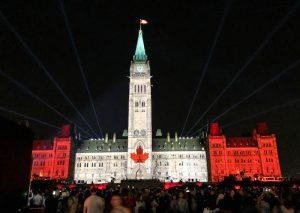 Lichtshow am Parlament in Ottawa