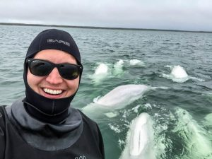 Selfie with beluga whales
