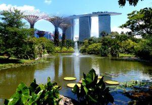 Gärten in Singapur mit Teich