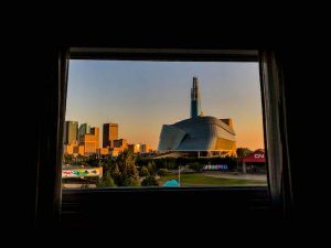 Blick auf Winnipeg Kanada zum Sonnenuntergang