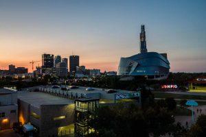 Sonnenuntergang mit Blick auf Winnipeg Manitoba