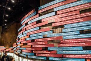 Wand mit Timeline im Menschenrechte Museum