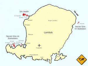 Karte von Lombok und den Gili Inseln in Indonesien