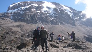 Kilimanjaro in background with people in the front
