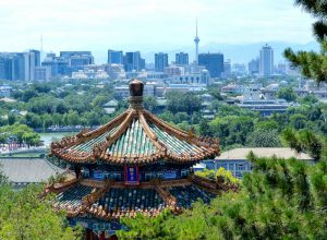 View of temple and Beijing skyline in the back