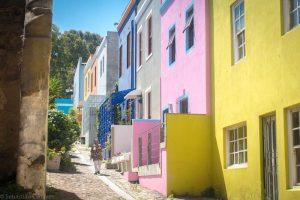 Bunt bemalte Häuser in Kapstadt
