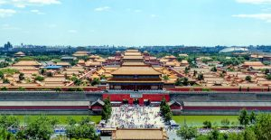 Forbidden city from above from a park