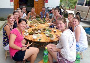 Mit meiner Reisegruppe beim Essen