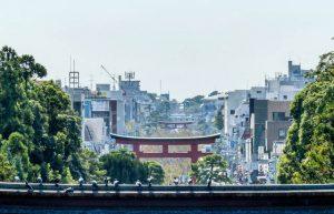 Aussicht auf Kamakura vom Schrein