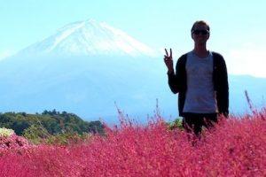 Silhouette vor dem Mount Fuji Berg Japan