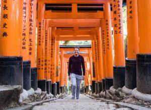 orangene torii Tore am Schrein