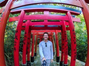 Rote Torii Tore in japan am Schrein